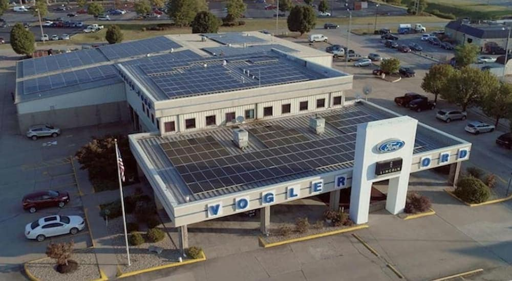 A look at the Voglar Ford's dealership solar plan on their building.