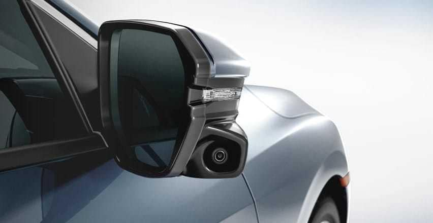 Honda Lanewatch featured on rearview mirror of Civic