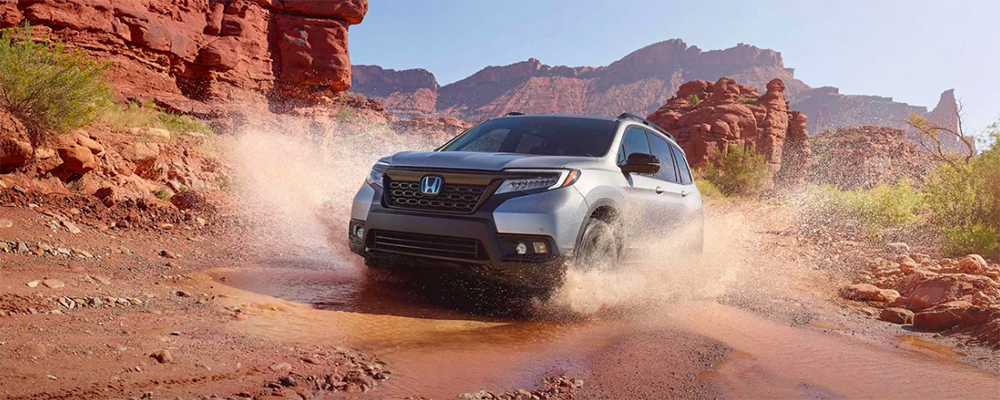 2019 Honda Passport driving in desert