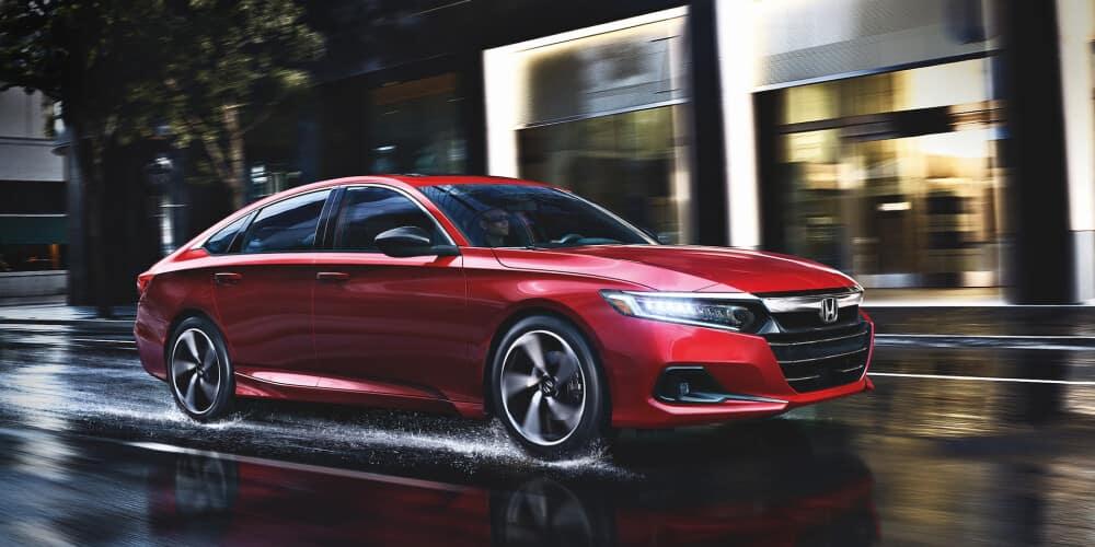 2021 Honda Accord driving in the rain