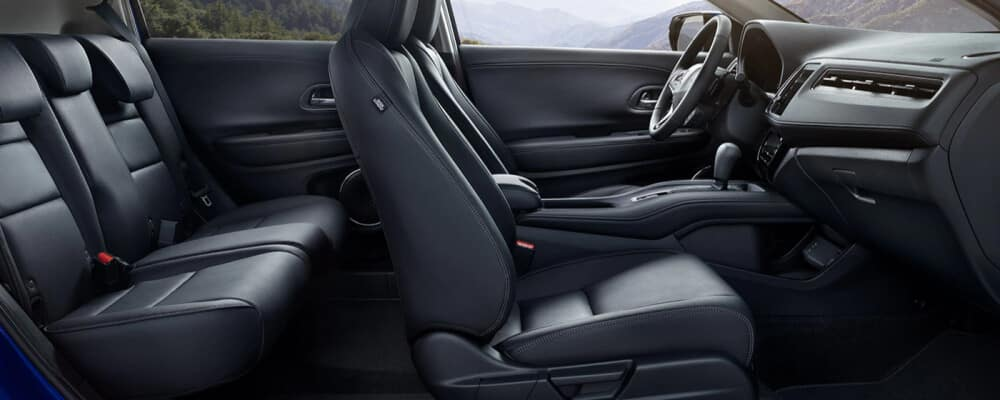 2021 Honda HR-V interior shot of black leather seats