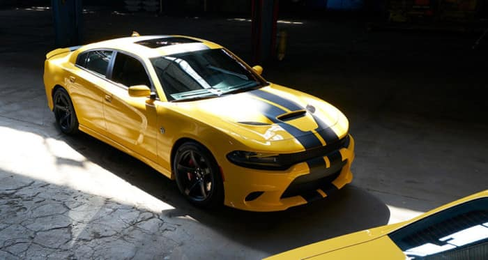 yellow and black striped 2018 Dodge Charger R:T Scat Pack