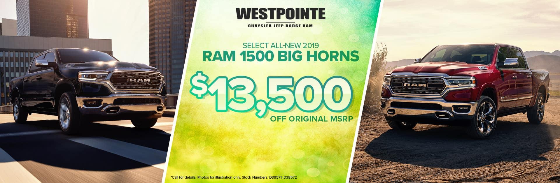 2019 Ram 1500 Big Horn - Westpointe Chrysler Jeep Dodge Ram