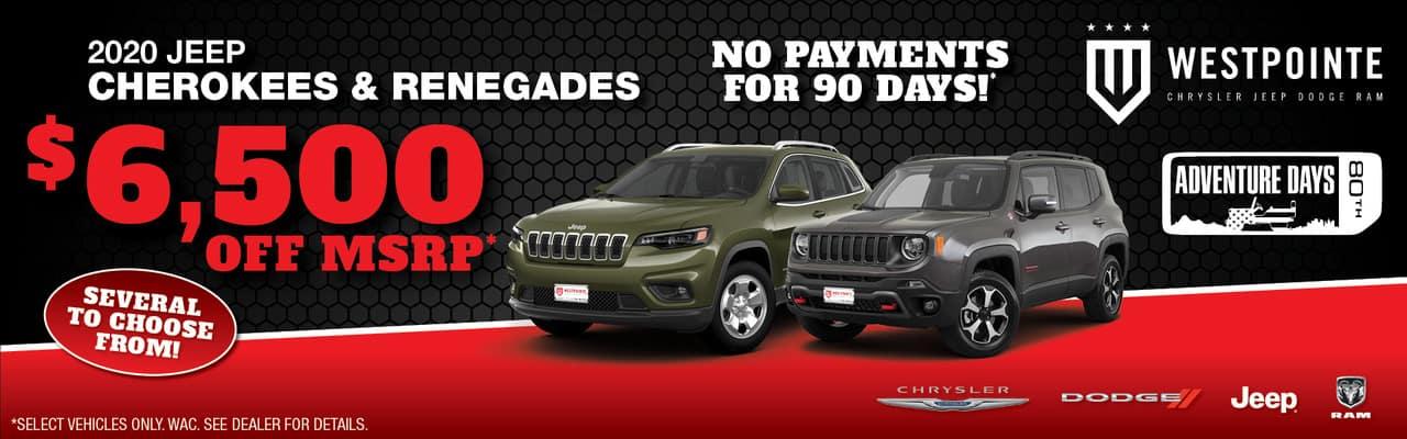 Cherokee & Renegades 6,500 off MSRP