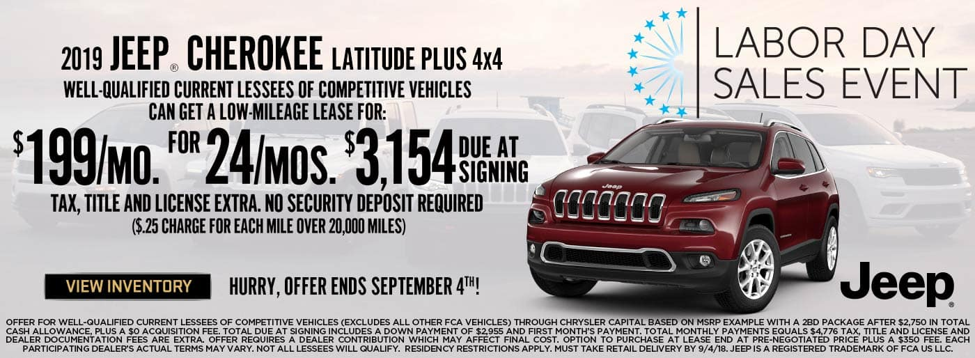 Jeep Cherokee $199 lease offer