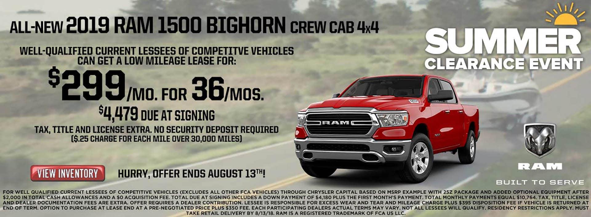 2019 Bighorn $299 Lease
