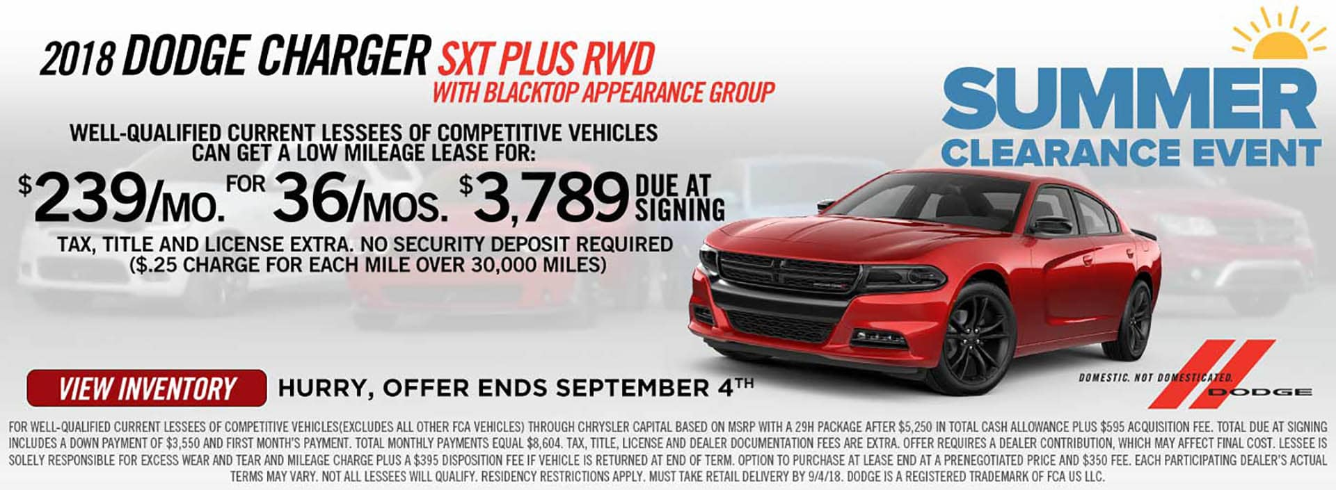 2018 Charger $239 Lease Offer